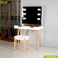 Goodlife wooden dressing table with lighted mirror and stool wholesale