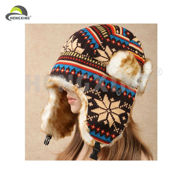 Winter Faux Fur Ski Trapper Aviator Cotton earflap Hat