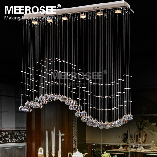 Rectangle Crystal Chandelier Light Fixture Crystal Curtain Wave <strong>Lamp</strong> for Ceiling Dining Room Prompt Shipping MD3378