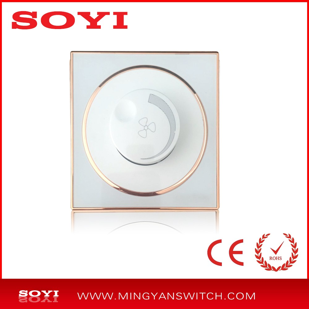 modern design 300W/500W dimmer fan electric wall switch / ceiling fan speed regulator with acrylic panel