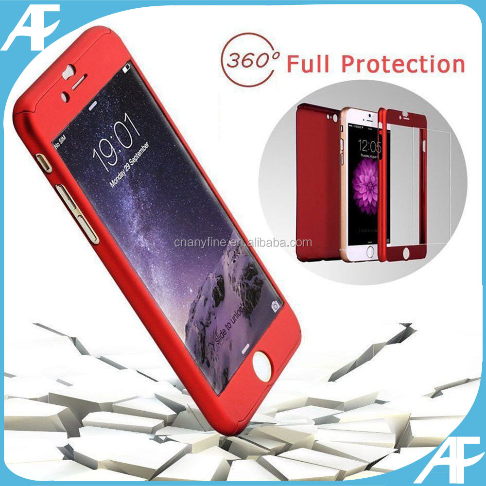 360 degree Full Cover Tempered Glass Film Case Skin for iPhone5 5s 6 6s 6S Plus 7 , Shockproof Case with Tempered Glass