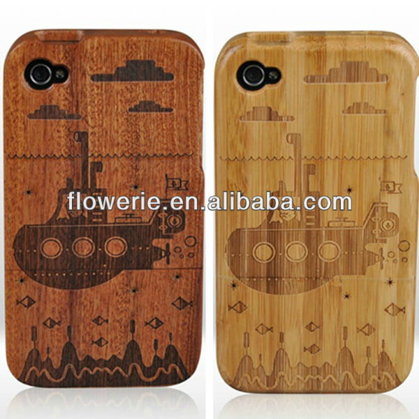 FL2181 2013 guangzhou hot selling carving cat wooden case for iphone 4/4S 4G