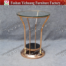 YC-ST24 Modern round glass top stainless steel bar table