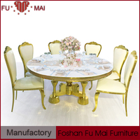 Fumai design round mdf & stainless steel base table and chair for restaurant