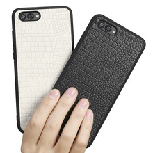 Genuine leather phone case for huawei nova 2s new design crocodile texture cowhide leather layer cover