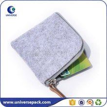 Small Blank Zipper Light Grey Felt Coin Bag With Pu Leather Puller