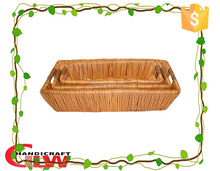 Home and resturant use willow wicker sushi tray with willow rope handle,food egg tray