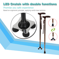 73.5-95.5cm Multifunction Smart Cane Outdoor Walking Stick with Stable Four Legs & LED Lamp