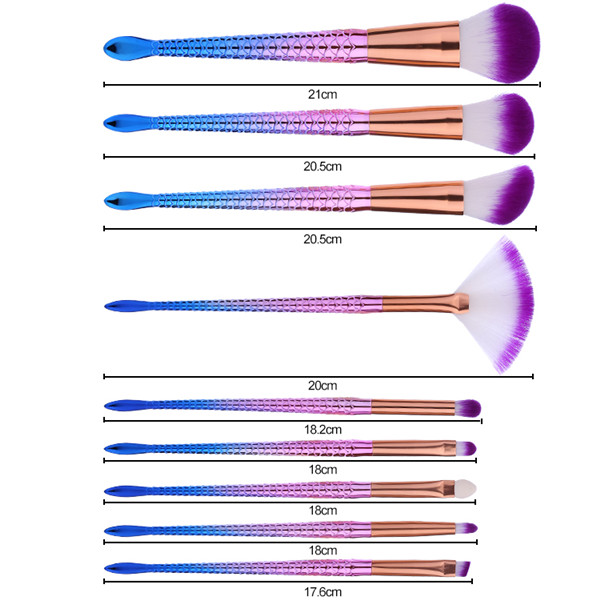 Sofeel porfessional manufacturer beauty mermaid 9pcs brush set makeup