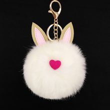 Yongze red heart large faux fur pompoms keychain with ears