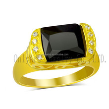 vintage and luxurious black onyx class rings gold plated silver ring