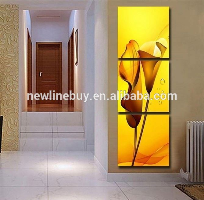 3 Panels Painting Wall Hanging Canvas Picture Paint Modern living room summer style yellow lily vertical fabric Home Decor