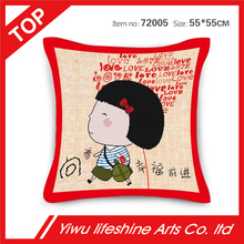 love's gift series cute carton girl comfortable cushion cover home decorative car pillow covers 55*55cm