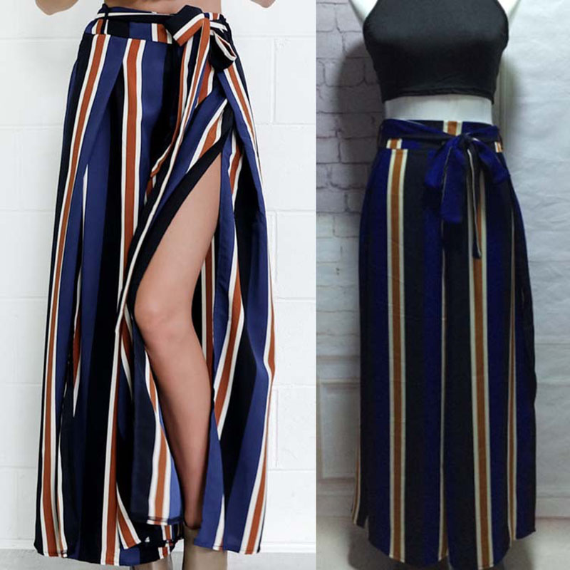 2017 Newest fashion women stripe cotton trousers ladies wide leg pants