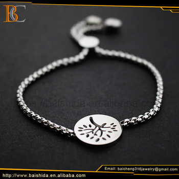 OEM/ODM tree shape stainless steel bracelet bangle crystal jewelry chain bracelet for women