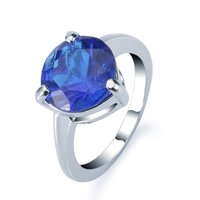 Fashion jewelry 18K white gold filled cubic zirconia sapphire wedding ring for women men wedding party