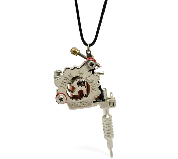 Wholesale 1PC Silver Tone Mini Tattoo Machine Necklace 45cm