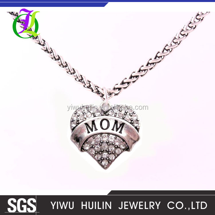 A500291 Yiwu Huilin Jewelry multi colored crystal alphabet MOM heart alloy necklace gift for Mother's day