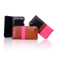 Fashion hit color pu leather mobile flip cover with credit card holder