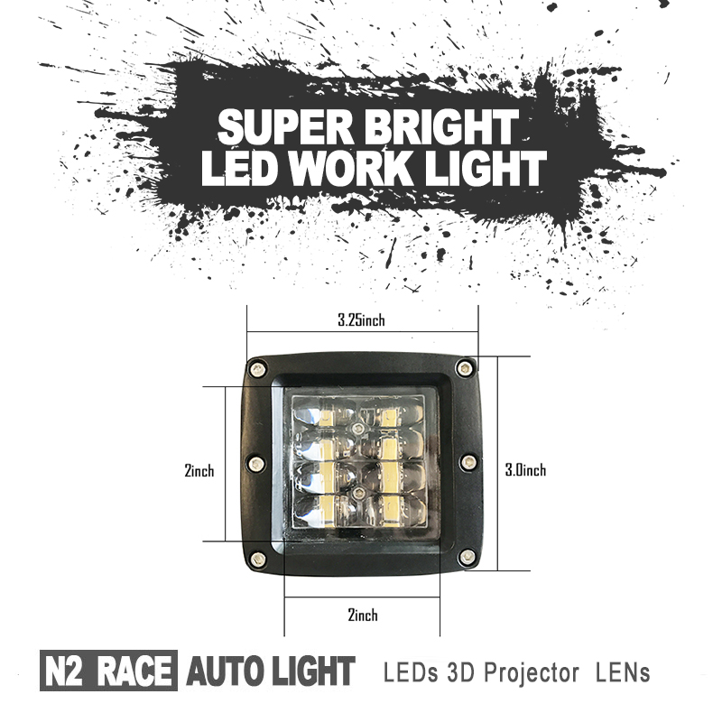 New Design high quality cube 4D lens light 3 inch 12W led work light led driving light for tractor truck off road heavy duty