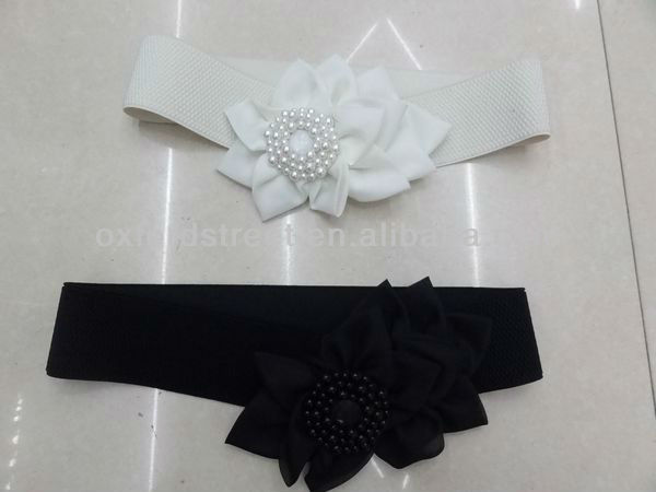 Pearl and flowerselastic fabric belts
