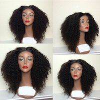 African American Women Short Kinky Curly braided front lace wigs indian remy full lace wigs glueless with baby hair clips