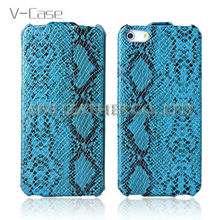 Vertical flip lagging snake leather case for Apple iphone5