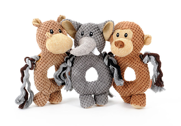 Dog Accessories Circle Animal Sound Monkey Elephant Cartoon Squeaky Plush Dog Toys