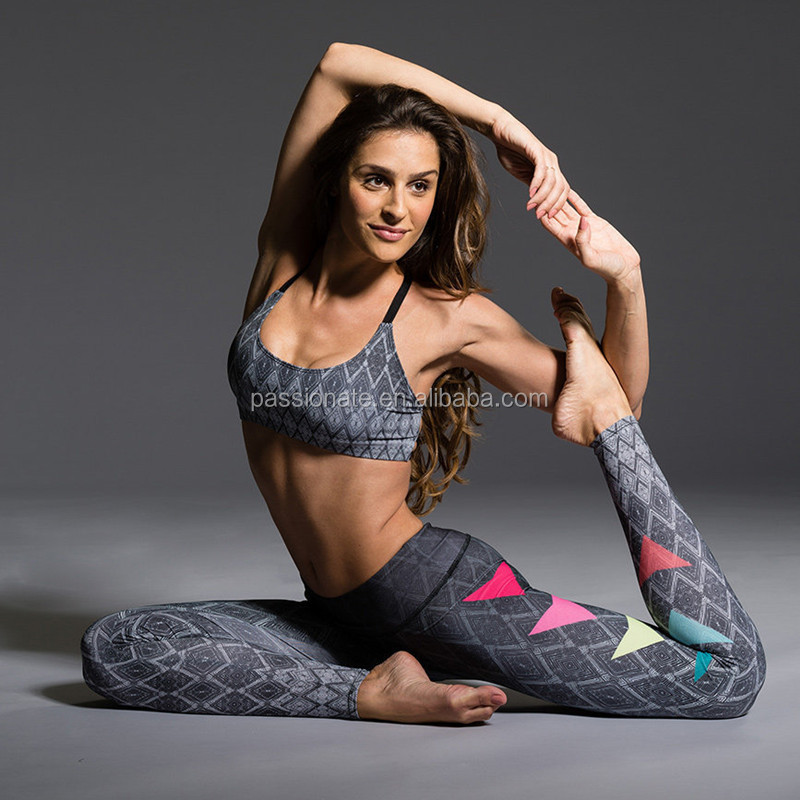 Thailand custom made printed sports wear yoga sets fitness apparel for women