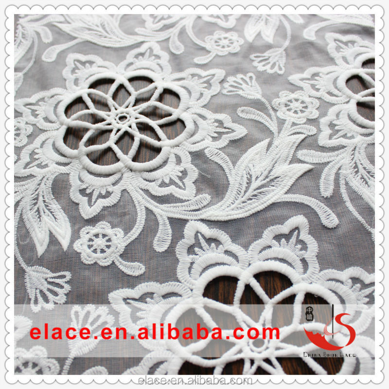 Pure tulle hot selling korean swiss high quality flowery lace fabric for women dress