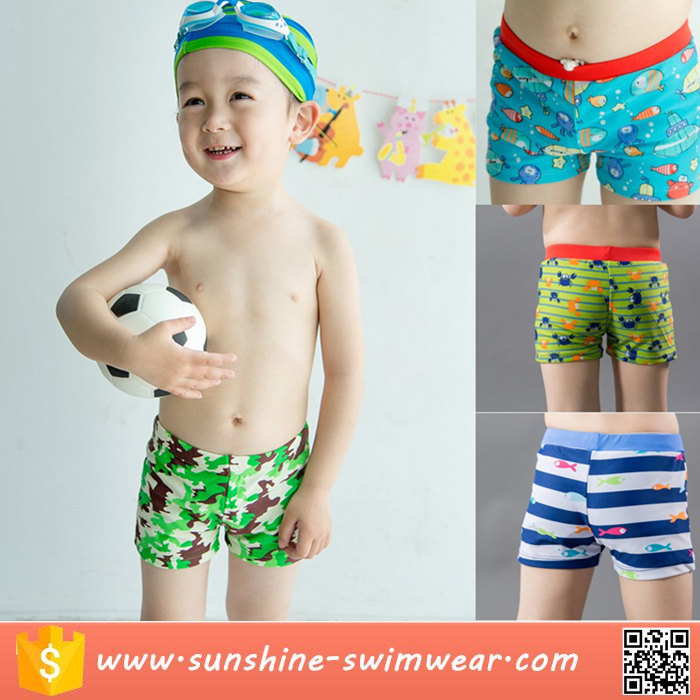 OEM Custom Digital Print Sublimation Boys Swim Trunks Swimwear