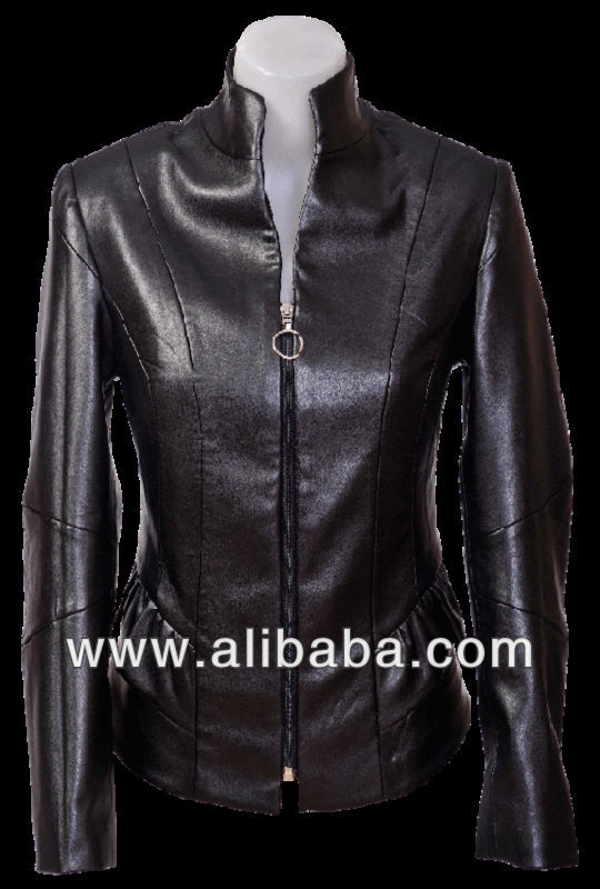 New 2014 spring DECOLLATE ladies black elastic faux high quality Italian leather limited edition peplum jacket size S M L XL XXL