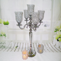 Elegant new tall 5 arms wedding tulips silver crystal candelabra for wedding decoration centerpieces