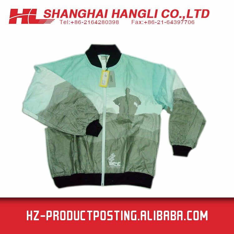 2016 Latest Tyvek Plain Dyed Long Sleeve Nylon Bomber Jacket