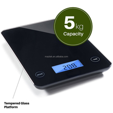 Digital Kitchen Food Scale 11lb 5kg Capacity Food Scale Measures Grams Glass Platform Kitchen Scale