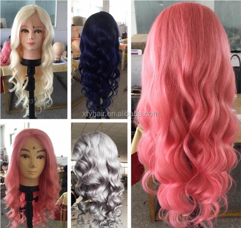 Alibaba Express 2016 100% Handtied lace frontal Human Hair Wig with different hair length and color