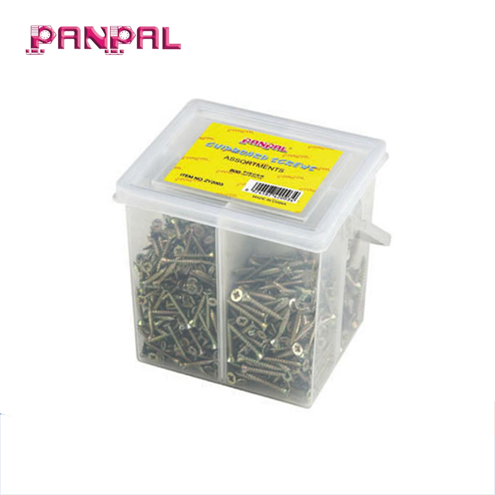 Low <strong>price</strong> 800pcs assorted sizes iron yellow zinc plated chipboard screws