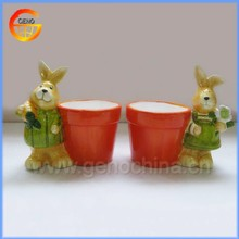 Customed ceramic easter rabbit cartoon flower pot