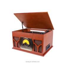 High end Wooden electric turntable cd radio casstte record player with microphone /USB recording function