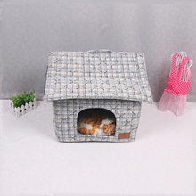 New Design Cute Cat House Lattice Pet House Soft Linen Fabric Portable House For Dogs