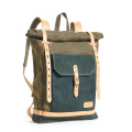 buy direct from china factory rolltop backpack with green canvas and leather bottom
