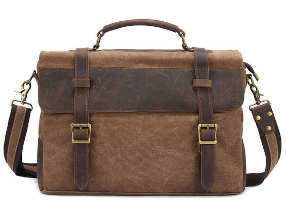 high quality waxed canvas mens messenger bag