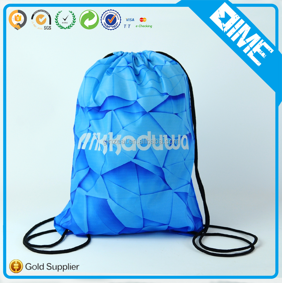 Promotional Blank Natural Plain Polyester Drawstring Bag Recycled Bag