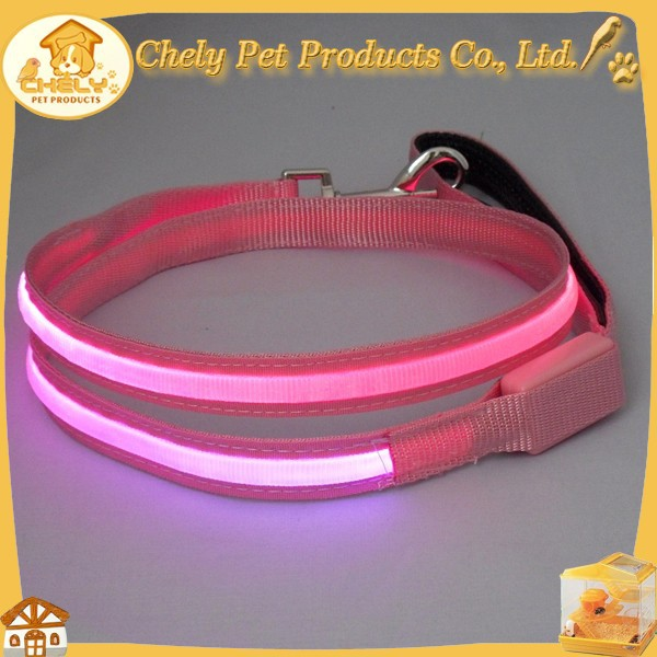 Heated Dog Leash LED Dog Lead Wholesale Nylon Rope Pink/Blue/Green