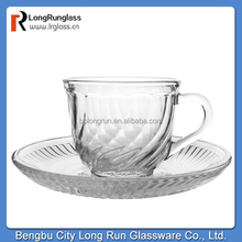 Clear tea cup and saucer wholesale