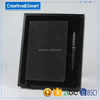 Hote sale Luxury A5 Printing leather cover note book with roller pen