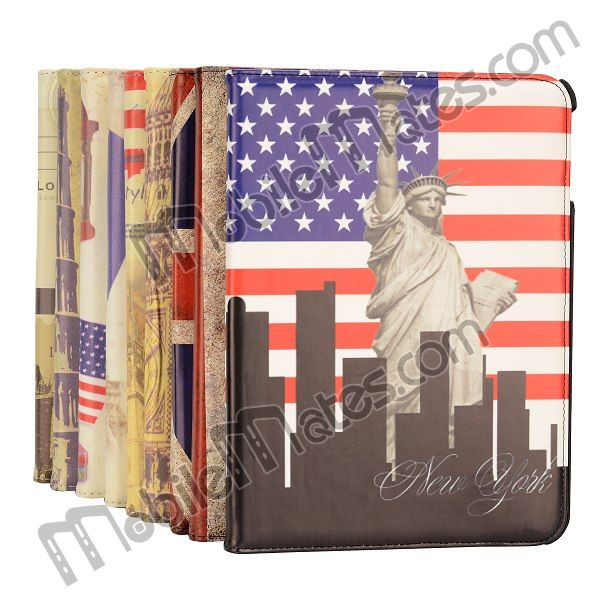 Retro Flag 360 Degree Rotating Flip Cover Leather Case for Samsung Galaxy Tab 4 10.1 T530 T531 T535