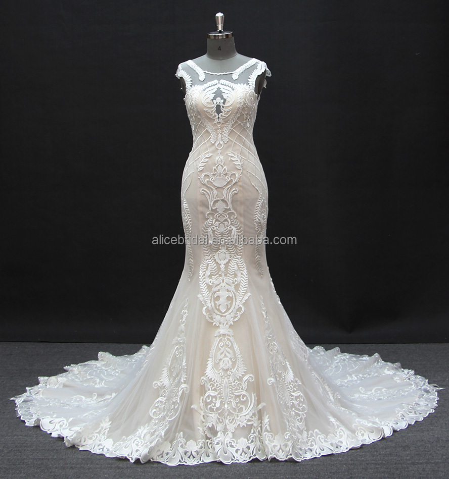 2017 new arrival guangzhou alibaba mermaid wedding dress spaghetti bridal gown