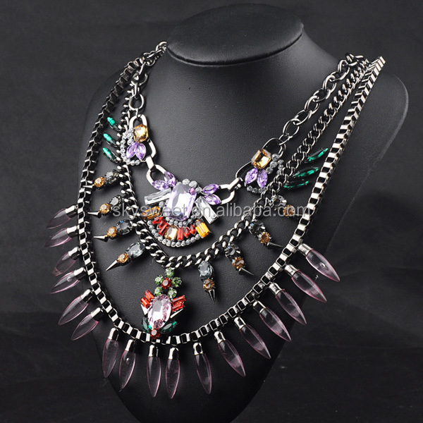 winter season hot sale costume jewelry,layers chain crystal necklace,egyptian jewellery