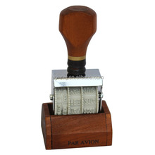 the date stamp with base English French German Arabic Spanish Italian Thai language ETC plastic handle rubber stamp